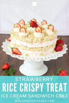 Imagine if layers of rice crispy treats and creamy strawberry cheesecake ice cream were layered into an amazing ice cream sandwich cake?!? Well now they are! This creative summer dessert is simple to put together but looks amazing! Celebrate the best things in summer with this wonderful ice cream cake. #summer #easy #icecream #dessert #ricecrispytreats Summer Snacks, Summer Desserts, Easy Desserts, Dessert Recipes, Summer Food, Cheesecake Ice Cream, Cream Cake, Strawberry Cheesecake, Frozen Desserts