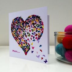 Mothers Day Card Mum Butterfly Card Best Mum Card by Inkywool