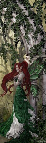 Delightful green fae with red hair, beautiful picture