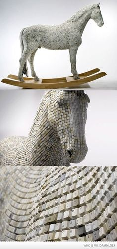 trojan horse out of keyboard keys -possible inspiration for found object sculpture piece.