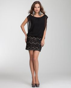 A party look just isn't complete without all-eyes-on-me embellishments {bebe | Drop Waist Embellished Dress}