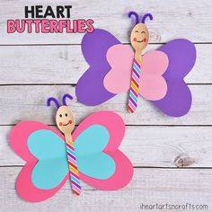 Heart Butterfly Craft For Kids - I Heart Arts n Crafts Butterfly Art And Craft, Butterfly Kids, Butterfly Party, Diy For Kids, Crafts For Kids, Arts And Crafts, Children Crafts, Fish Drawing For Kids, Peacock Crafts
