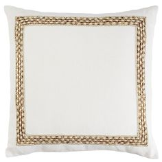 Romantic Glam Gold Beaded Border Pillow - Ivory