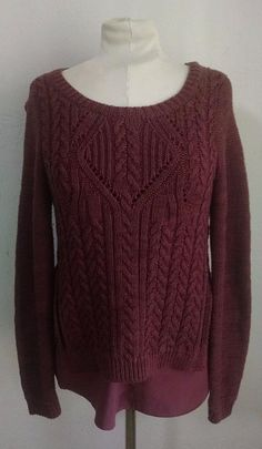 Anthropologie Moth Ella Sweater M Plum Purple Cableknit Cabled Pullover Layered #Moth #Crewneck