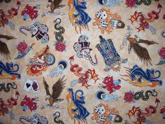 Beige Tattoo LTR Harley Eagle Wings Cotton Fabric OOP by scizzors, $2.99
