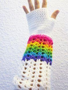 Rainbow Fingerless Gloves Crochet