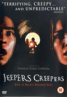 Jeepers Creepers: A brother and sister driving home for spring break encounter a flesh-eating creature in the isolated countryside that is on the last day of its ritualistic eating spree. Best Horror Movies, Horror Films, Scary Movies, Halloween Movies, Go To Movies, Great Movies, Awesome Movies, Francis Ford Coppola, Jeepers Creepers