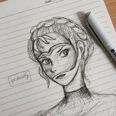 "ipirateluffy: "" Helene Aquilla, the feisty warrior by @sabaatahir  #sketch #doodle #paper #graypen #practice #drawing #illustration #fanart #sabaatahir #anemberintheashes #helene #heleneaquilla """