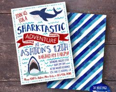 Shark Invitation Shark Birthday Invitation Shark Party