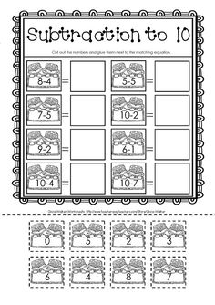 Subtraction Cut And Paste Worksheets – Worksheets Samples Cut And Paste Worksheets, Money Worksheets, Addition Worksheets, Free Printable Worksheets, Alphabet Worksheets, Subtraction Kindergarten, Subtraction Activities, Free Kindergarten Worksheets, Preschool Literacy