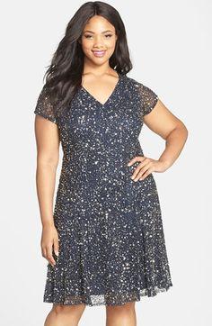 Pisarro Nights Embellished V-Neck Fit & Flare Dress (Plus Size) available at #Nordstrom