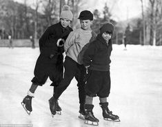 Three young boys are seen enjoying a leisurely skate across Lake Placid in New York. The photo from 1929 captures the young children enjoying their Christmas holidays Luge, Vintage Children Photos, Vintage Images, Vintage Christmas, Christmas Photos, Christmas Holidays, Christmas Ideas, Xmas, Good Old Times