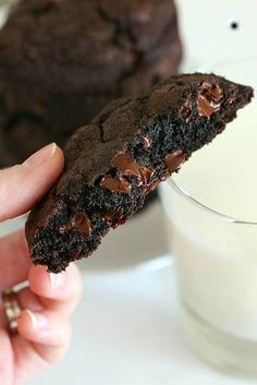 Best Chocolate Chocolate Chip cookies Giant Double Chocolate Cookies Printer-Friendly Version Yield: 12 very large cookies Ingredients: 1 cup sticks) cold, unsalted butter, cubed cup sugar 2 large eggs ½ cup dark cocoa powder cups all-purpose . Just Desserts, Delicious Desserts, Yummy Food, Dessert Healthy, Tasty, Baking Recipes, Cookie Recipes, Dessert Recipes, Think Food