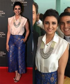 Parineeti Chopra Accessories India Fashion, Ethnic Fashion, Denim Fashion, Star Fashion, Fashion Outfits, Indian Attire, Indian Wear, Indian Wedding Wear, Gala Dresses
