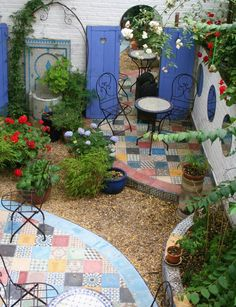 Love this patchwork patio!