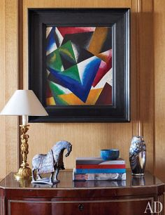 A painting by Russian Constructivist Liubov Popova on a library wall. Designer Michael S. Smith photo by Michael Mundy