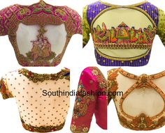 This Boutique Creates The Most Stunning Wedding Blouse Designs Most Stunning Wedding Blouse Designs for kanjeevaram silk sarees and pattu sarees with embroidery designed by Needle Eye boutique Hand Work Blouse Design, Stylish Blouse Design, Pattu Saree Blouse Designs, Bridal Blouse Designs, Maggam Work Designs, Designer Blouse Patterns, Beautiful Blouses, India Fashion, Indian Designer Wear