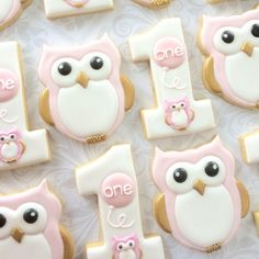 First birthday Number 1 pastel birds and Pink Balloons - One Dozen Decorated Sugar Cookies Owl Sugar Cookies, Baby Cookies, Iced Cookies, Cute Cookies, Royal Icing Cookies, Cupcake Cookies, Cupcakes, Owl First Birthday, Owl Cake Birthday