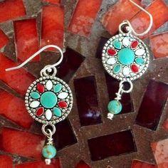 """SouthWestern Earrings Pretty Enamel in Antique Silver, Turquoise Beads Accent. Sterling Silver Ear Wires. 1 3/4"""" Jewelry Earrings"""