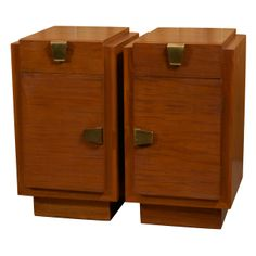 View this item and discover similar for sale at - Pair of Art Deco mahogany and brass mounted nightstands with lacquer fitted interiors. Art Deco Furniture, Bedside Tables, Nightstands, Bauhaus, Aspen, Industrial Design, Decor Styles, Locker Storage, Print Design