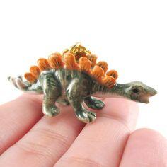 Porcelain Stegosaurus Dinosaur Shaped Hand Painted Ceramic Animal Pendant Necklace | Handmade