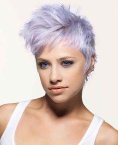 Short pastel color haircut with faux hawk
