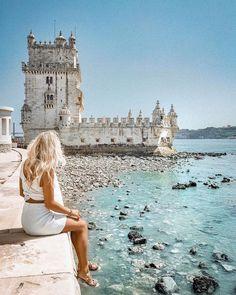 Belem Tower in Lisbon, Posturgal Belem Portugal, Travel Around The World, Around The Worlds, Places To Travel, Places To Visit, Foto Pose, Portugal Travel, Wanderlust Travel, Adventure Travel