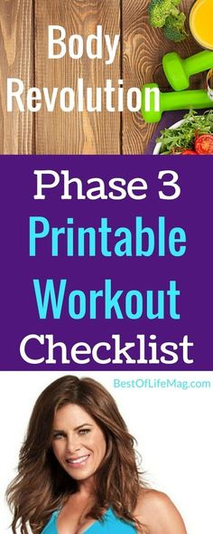 This Jillian Michaels Body Revolution Phase 3 Printable Workout Checklist will help anyone get in shape regardless of fitness level. Simply print and be prepared to lose weight as Jillian whips you into shape.