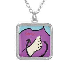 ASL Sorry Square Pendant Necklace