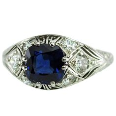 Platinum ,Sapphire and Diamond Ring  unknown  1930's