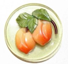 Large Vintage Marion Weeber 1940's Celluloid Button Peaches Fabulous!