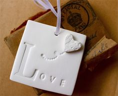 Clay Tags - Love Balloon - Square Gift Tag with Heart Balloon - White Embossed Clay