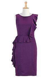 Ruffled ponte knit sheath dress