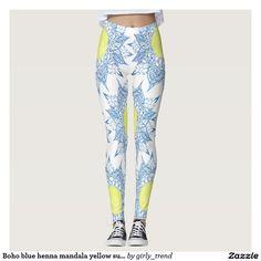 Boho blue henna mandala yellow sun patterns  yoga leggings