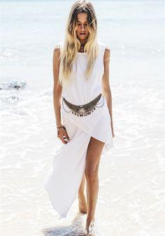 White Plain Irregular Sleeveless Cotton High-Low Dress