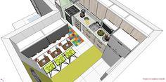 """Cozinha em """"L"""" com espaço pra refeição..."""