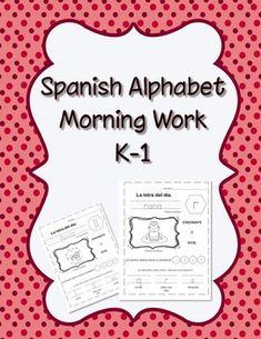 Spanish Alphabet Morning Work by FUNtastico Spanish Materials Preschool Spanish Lessons, Teach Me Spanish, Spanish Activities, Spanish Teacher, Learning Spanish, Spanish Worksheets, Educational Activities, Dual Language Classroom, Bilingual Classroom