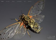 Artist hatches steampunk insects wearing mechanical gears via The Creators Project Chat Steampunk, Arte Steampunk, Style Steampunk, Steampunk Gadgets, Steampunk Design, Steampunk Fashion, Steampunk Coffee, Steampunk Cards, Steampunk Robots