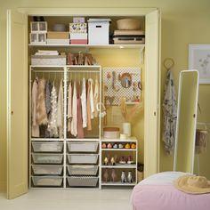 Bedroom Closet Design, Closet Designs, Bedroom Decor, Organize Bedroom Closets, Organize Coat Closet, Kids Closet Storage, Toddler Closet Organization, Diy Clothes Storage, Ikea Closet