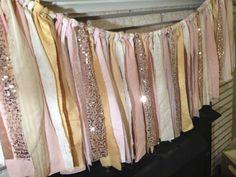 Pink  Gold Sparkle Sequin Fabric Banner Garland - Backdrop, Wedding, Baby Shower, Photo Prop, Nursery, Crib Garland
