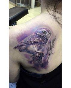Violet Owl Tattoo on Shoulder Blade by Baraka Tattoo