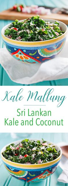Kale Mallung: In thi Kale Mallung: In this Sri Lankan dish each bite of kale is infused with the taste and aroma of coconut. Vegan gluten-free and delicious. Coconut Recipes, Vegan Recipes, Vegan Foods, Free Recipes, Sri Lankan Recipes, Vegan Cookbook, Vegan Kitchen, Side Dish Recipes, Side Dishes