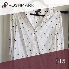 J.Crew Polka dot dress shirt Button up, collared dress shirt. Light weight linen feel. J. Crew Tops Button Down Shirts