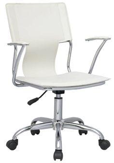 Modern White PVC Pneumatic Gas Lift Swivel Arm Chair