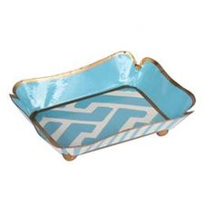 """Recycled metal tray with a geometric design.    Product: TrayConstruction Material: MetalColor: BlueFeatures: Made from recycled materialsDimensions: 5"""" W x 4"""" DCleaning and Care: Wipe clean with a damp cloth"""