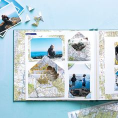 Give the maps that guided you to favorite destinations a second life as scrapbook showstoppers. The printed papers become colorful and fitting backdrops for vacation mementos (and making them is easier than folding the map itself).