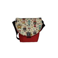 Shop Fun Retro Robots Illustrated Pattern (Cream) Messenger Bag created by funkypatterns. Retro Robot, Mini Messenger Bag, Pack Your Bags, Sewing Projects, Sewing Ideas, Sewing Diy, Sewing Patterns, Beautiful Bags, Hobo Bag