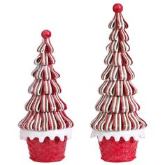 RAZ 14 Ribbon Tree Set of 2 RAZ 14 Ribbon Trees Set of 2 Set includes one of each style and Made of Claydougn Measures 11 X X 14 X 5 X 5 RAZ 2017 Peppermint Kitchen Collection Source by trendytree Whimsical Christmas, Vintage Christmas Ornaments, Christmas Tree Decorations, Gingerbread Ornaments, Christmas Gingerbread House, Gingerbread Houses, Christmas Ribbon, Christmas Candy, Christmas Ideas
