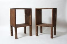 Tall Pair Square Wood Nightstands, Set of 2 Side Tables, Modern Nightstand, Wood Side Table, Bedside Table, Reclaimed Wood Plant - Walnut