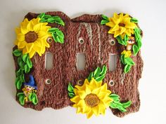 Woodland sunflower triple light switch plate cover, tree, owl, fairy, elf, gnome,unique, handmade, polymer clay. by DawnsClayFantasy on Etsy